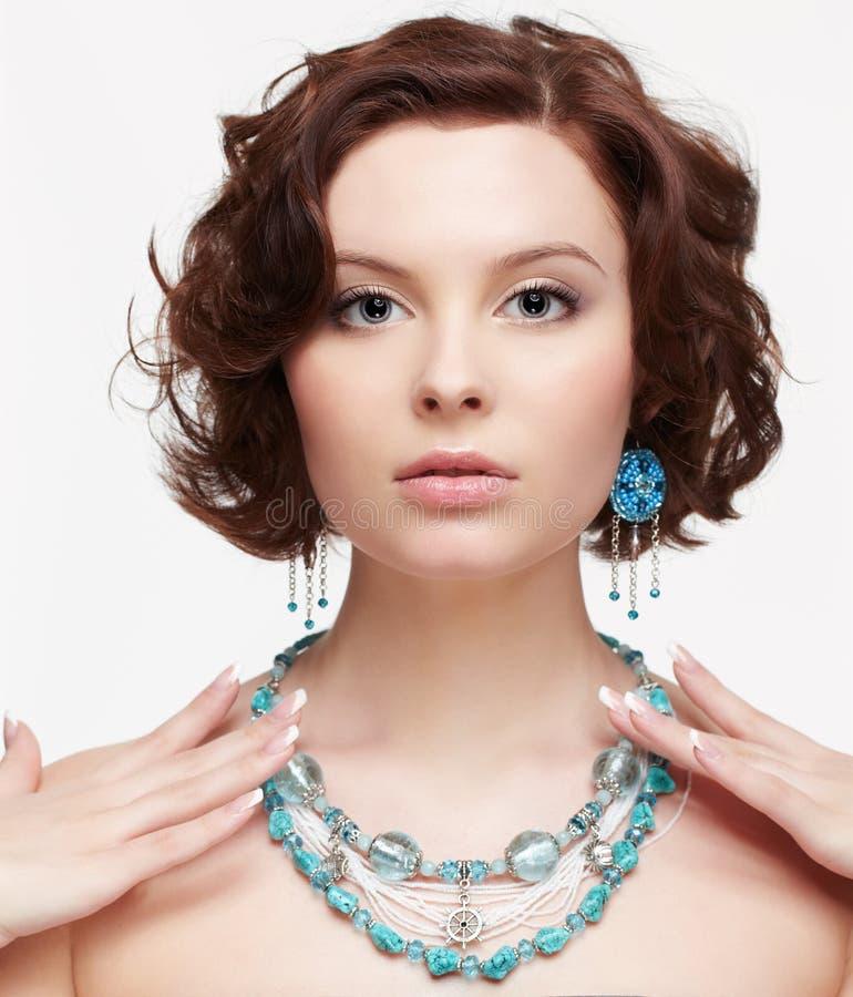 Beautiful brunette young woman stock photo