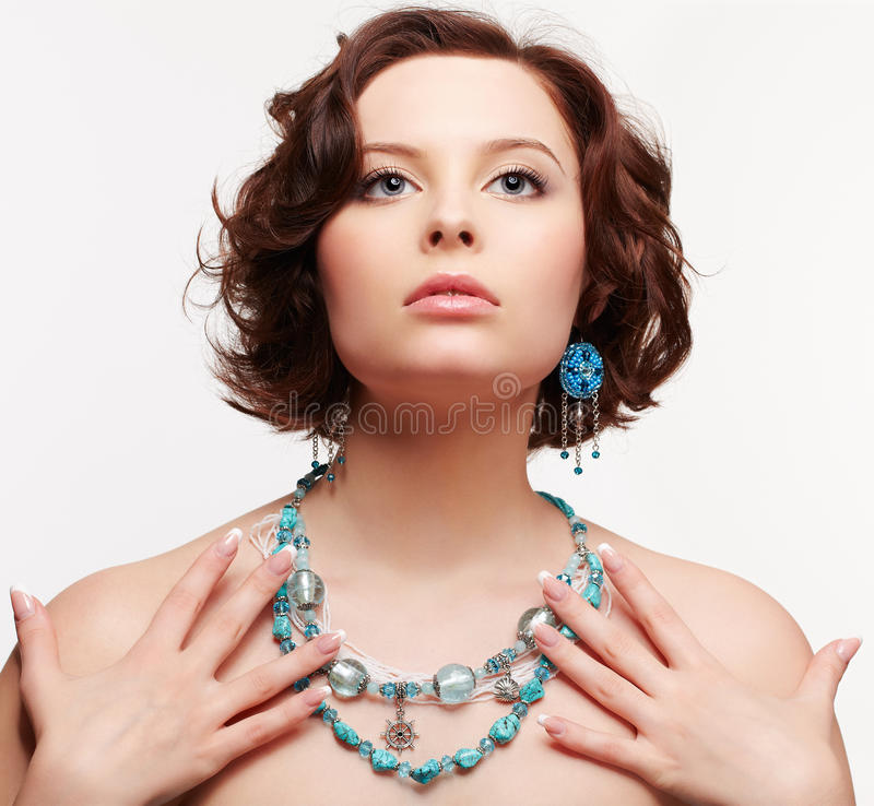 Beautiful brunette young woman royalty free stock photos