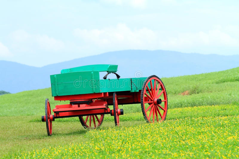 Beautiful buckboard. Parked on the grass outdoors stock photography