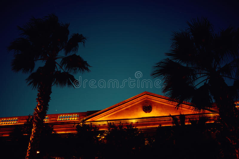 Beautiful building against night sky with palm trees silhouettes stock photo