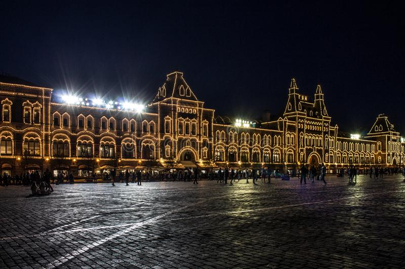 The building of the Central Department store with illumination on red square at night Moscow Russia. Beautiful building of the Central Department store with royalty free stock photography