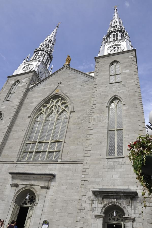 Notre - Dame Cathedral Basilica building facade from Downtown Ottawa in Canada royalty free stock photography