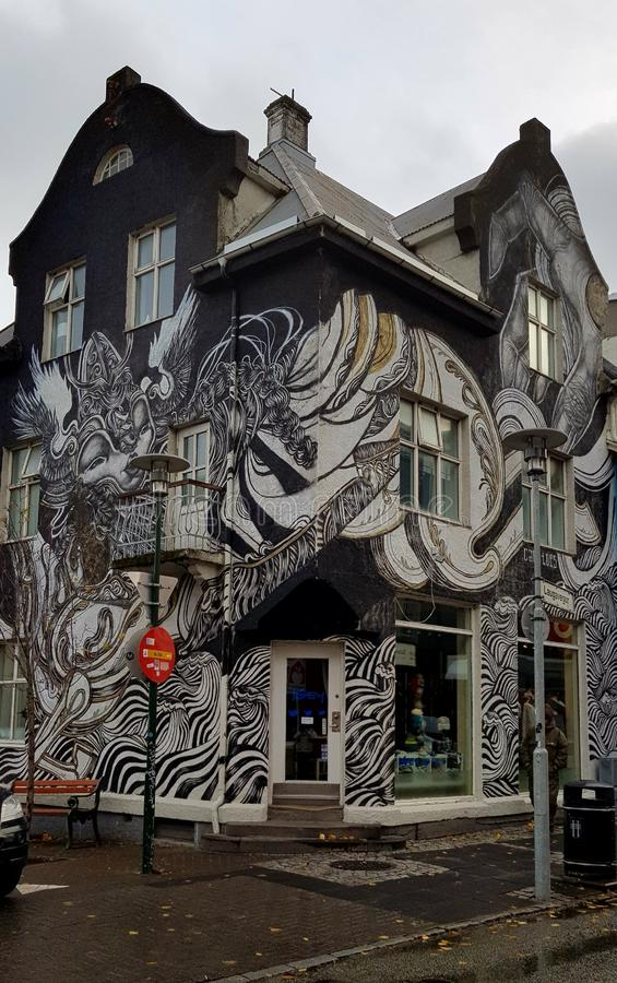 Beautiful building with graffiti in Reykjavik,  iceland royalty free stock photo