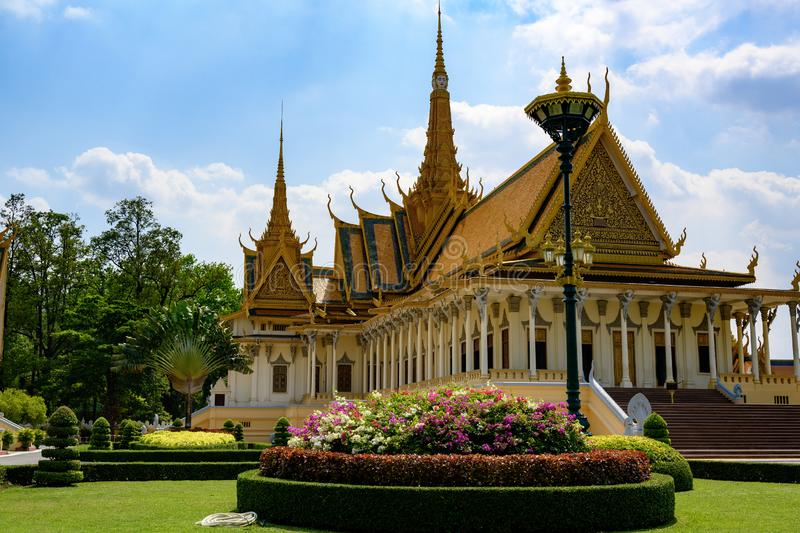Throne Hall in Royal Palace in Phnom Penh, Cambodia. Building in the complex of the residence of the King of Cambodia. stock photography