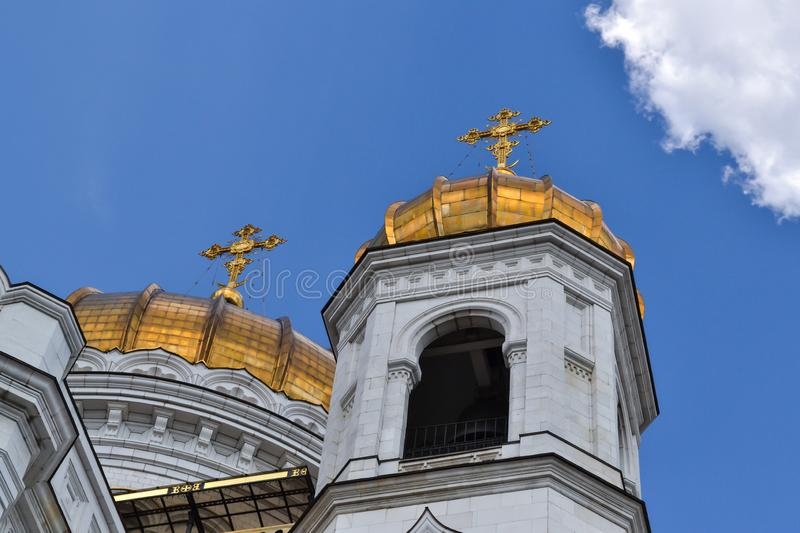 Beautiful building of the Russian Orthodox Church. Covered in gold dome. Crosses and exterior decoration. Love to God stock image