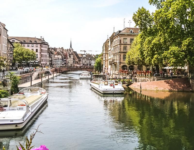 Beautiful buildings along the River in central Strasbourg in the Alsace region of France. royalty free stock photos