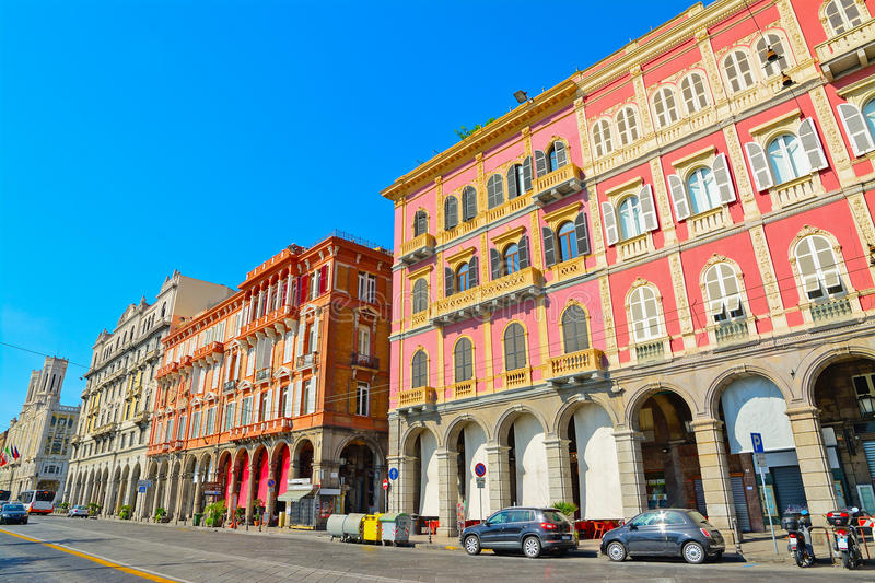 Beautiful buildings in Cagliari seafront. Italy royalty free stock images