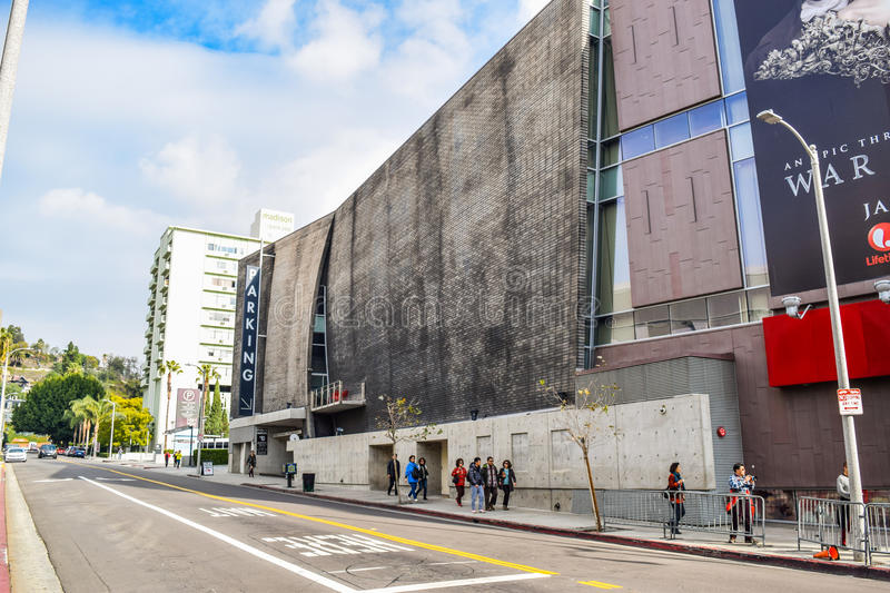Beautiful buildings on Hollywood Boulevard the world famous Walk of Fame royalty free stock image