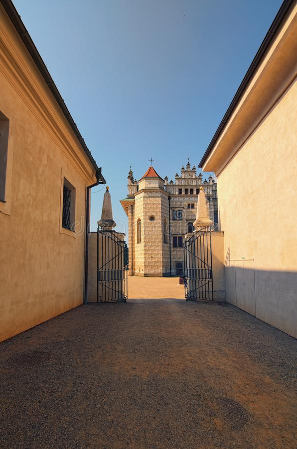 Free Beautiful Buildings In Litomysl Castle Shot With Perspective. It Is One Of The Largest Renaissance Castles In The Czech Republic. Stock Images - 126164524