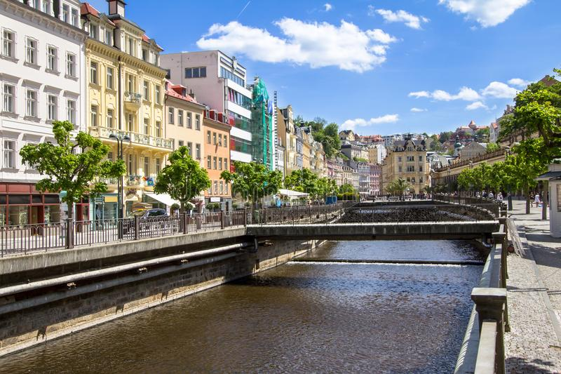 Beautiful buildings of Karlovy Vary, Czech Republic. Beautiful buildings from traditional town of Karlovy Vary, Czech Republic stock photos