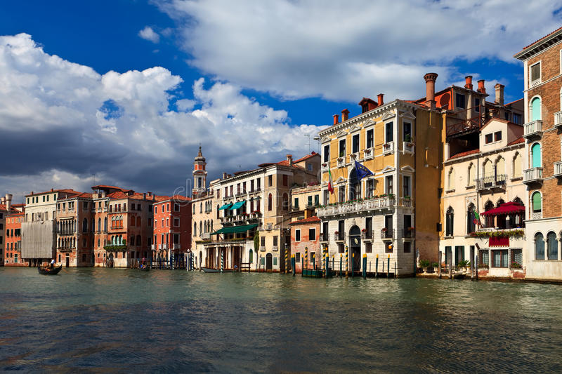 Beautiful buildings on main canal of Venice stock photos