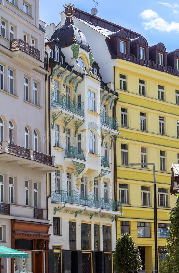 Beautiful buildings of Karlovy Vary, Czech Republic. Beautiful buildings from traditional town of Karlovy Vary, Czech Republic royalty free stock photo