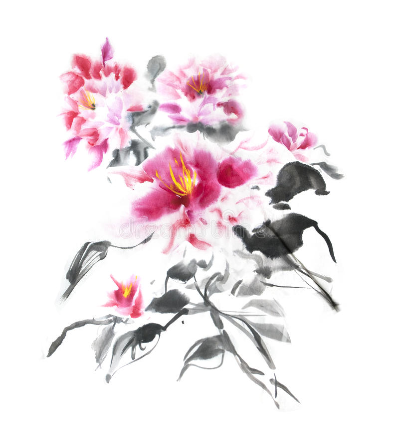 Beautiful bunch of pink peonies painted with ink in Japanese style. Gorgeous bouquet of tender watercolor flowers. Illustration for postcard, T-shirt print vector illustration