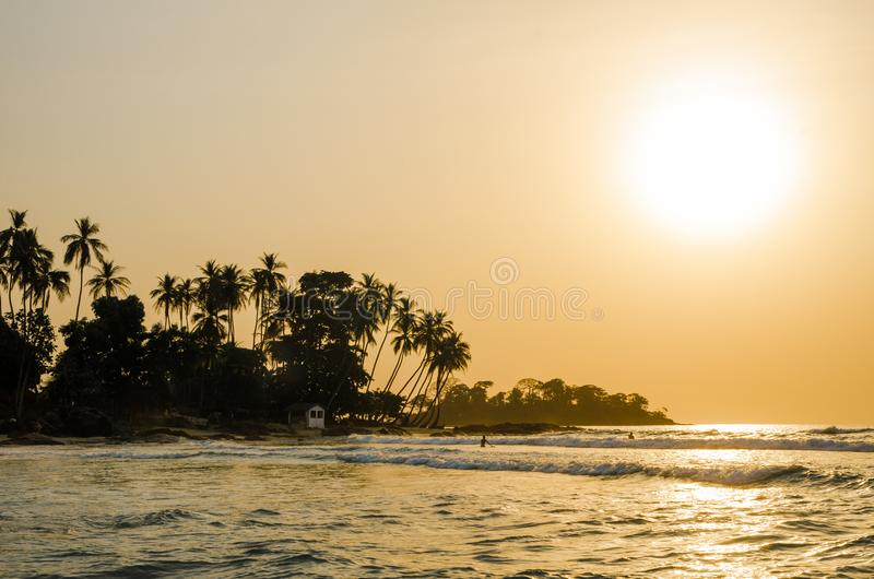 Beautiful Bureh Beach during sunset with silhouettes of palms and surfers, Sierra Leone, Africa royalty free stock photography