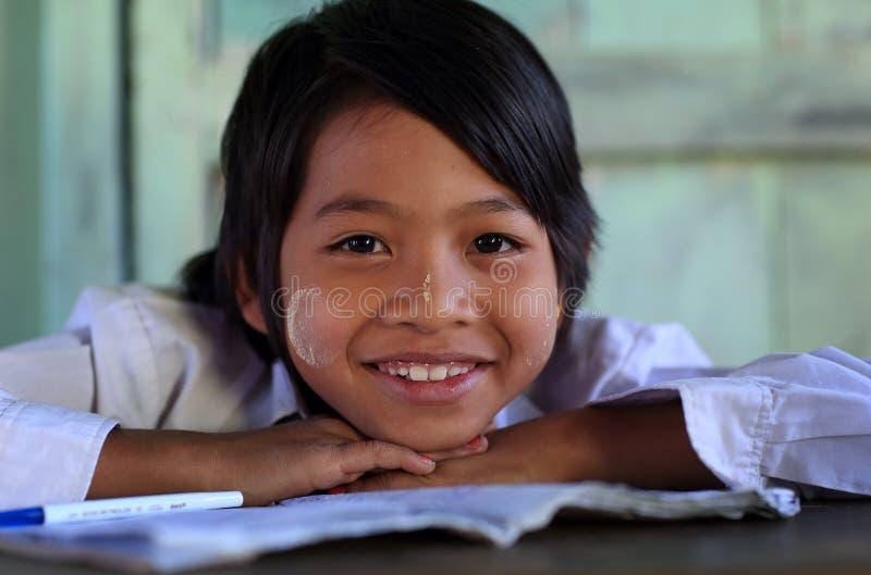 Beautiful Burmese girl. Young beautiful Burmese girl at school in Nyaungshwe, Myanmar royalty free stock photos