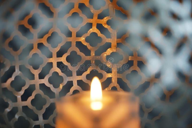 Beautiful burning candle, closeup royalty free stock image