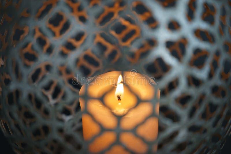 Beautiful burning candle, closeup royalty free stock photo