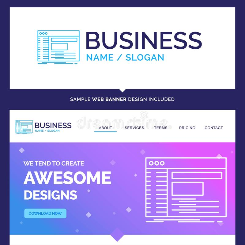 Beautiful Business Concept Brand Name Admin, console, panel, roo. T, software Logo Design and Pink and Blue background Website Header Design template. Place for royalty free illustration