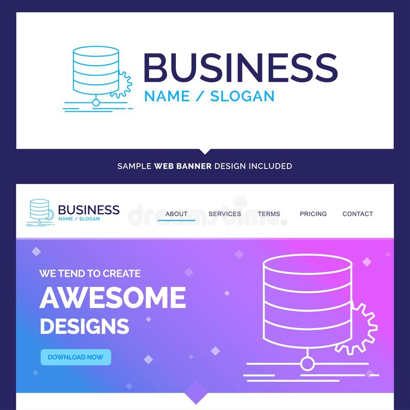 Beautiful Business Concept Brand Name Algorithm, chart, data, di. Agram, flow Logo Design and Pink and Blue background Website Header Design template. Place for vector illustration