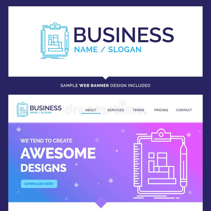 Beautiful Business Concept Brand Name Algorithm, process, scheme. Work, workflow Logo Design and Pink and Blue background Website Header Design template. Place royalty free illustration