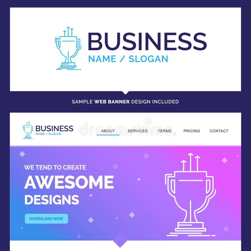 Beautiful Business Concept Brand Name award, competitive, cup, e. Dge, prize Logo Design and Pink and Blue background Website Header Design template. Place for stock illustration