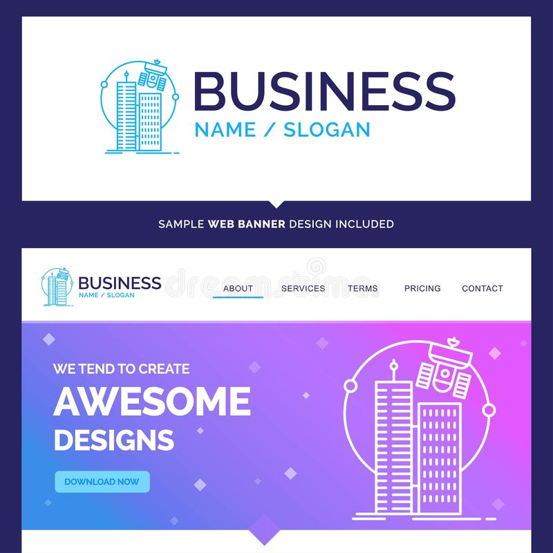 Beautiful Business Concept Brand Name building, smart city, tech royalty free illustration