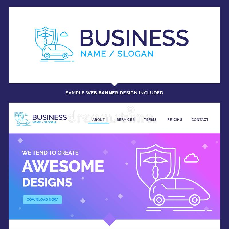 Beautiful Business Concept Brand Name car, hand, insurance, tran. Sport, safety Logo Design and Pink and Blue background Website Header Design template. Place stock illustration