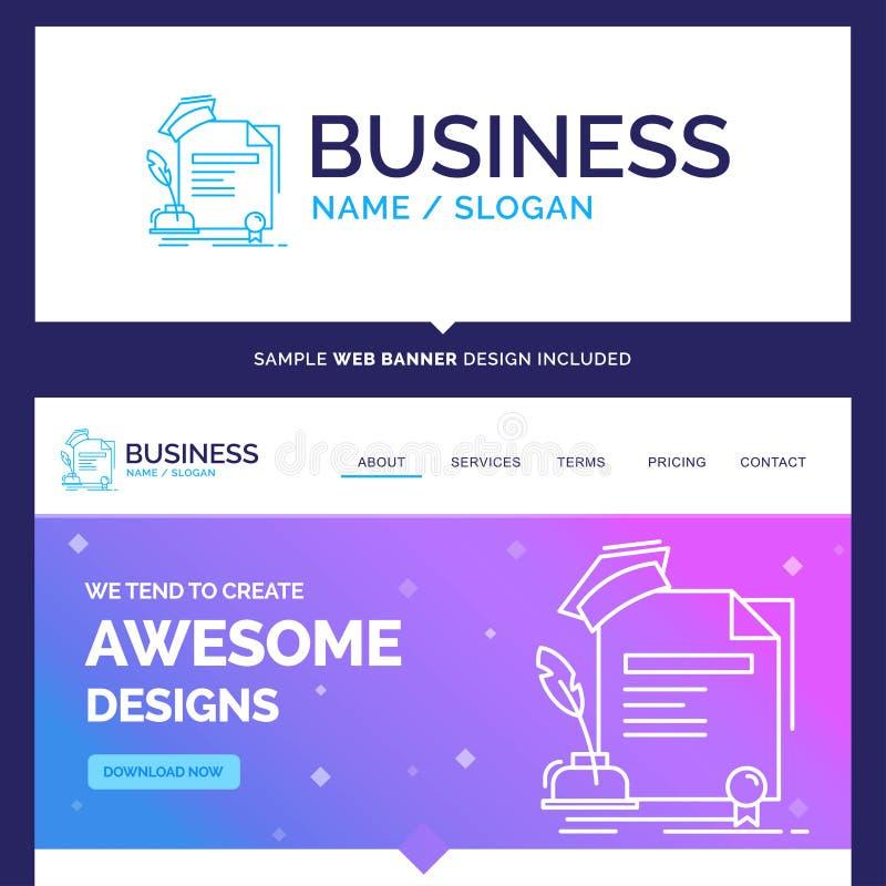 Beautiful Business Concept Brand Name certificate, degree, educa vector illustration