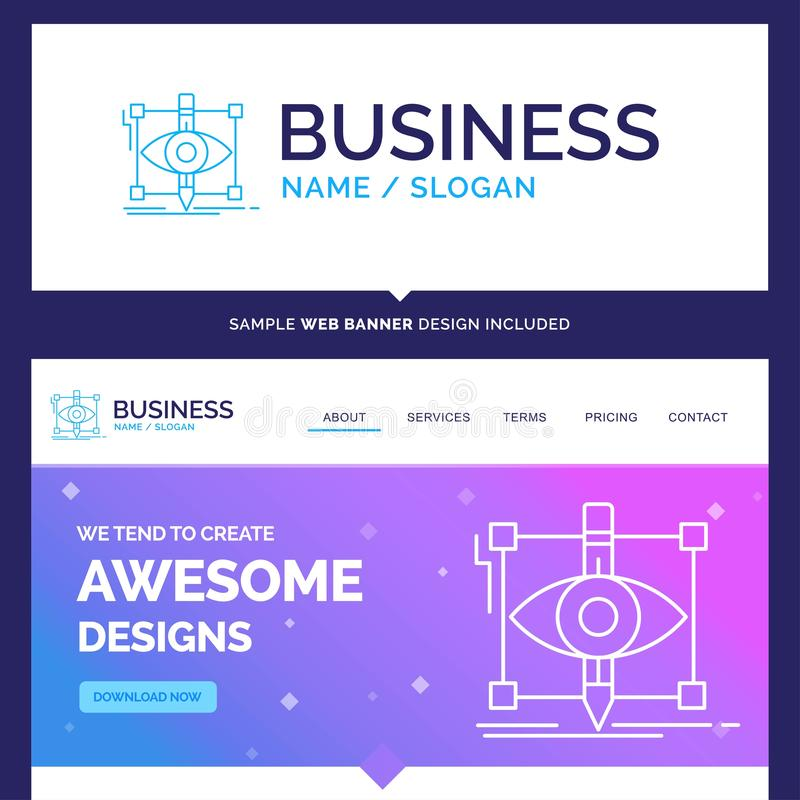 Beautiful Business Concept Brand Name design, draft, sketch, ske. Tching, visual Logo Design and Pink and Blue background Website Header Design template. Place royalty free illustration