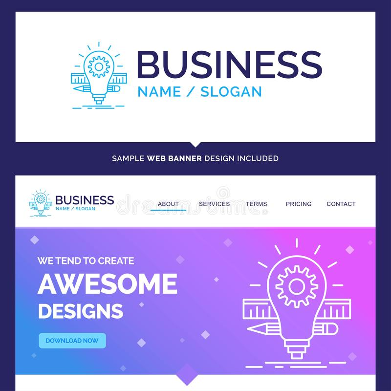 Beautiful Business Concept Brand Name Development, idea, bulb, p. Encil, scale Logo Design and Pink and Blue background Website Header Design template. Place for vector illustration