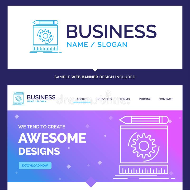 Beautiful Business Concept Brand Name Draft, engineering, proces. S, prototype, prototyping Logo Design and Pink and Blue background Website Header Design vector illustration