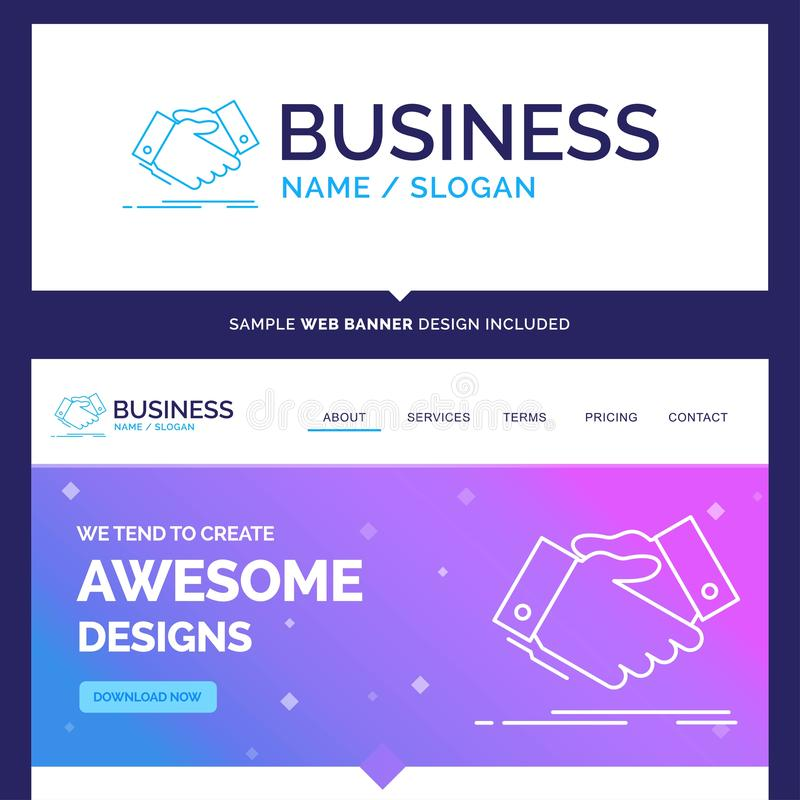 Beautiful Business Concept Brand Name handshake, hand shake, sha. King hand, Agreement, business Logo Design and Pink and Blue background Website Header Design royalty free illustration