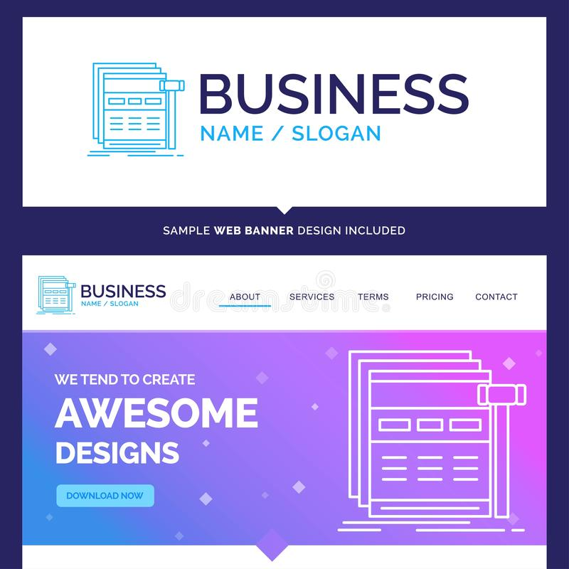 Beautiful Business Concept Brand Name Internet, page, web, webpa. Ge, wireframe Logo Design and Pink and Blue background Website Header Design template. Place vector illustration