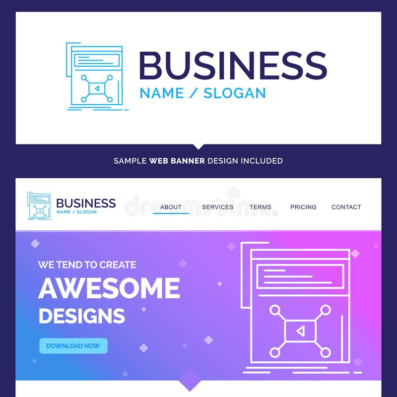 Beautiful Business Concept Brand Name Marketing, page, video, we stock illustration