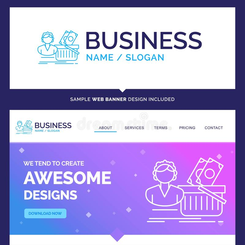 Beautiful Business Concept Brand Name Salary, Shopping, basket royalty free illustration