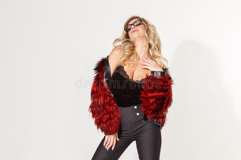 Beautiful business girl blonde elegant posing on white background royalty free stock photos