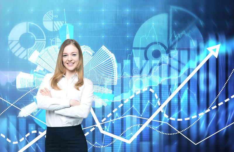 A beautiful business lady with crossed hands is going to provide financial services. Financial charts on the background. A concept of financial consultancy royalty free stock image