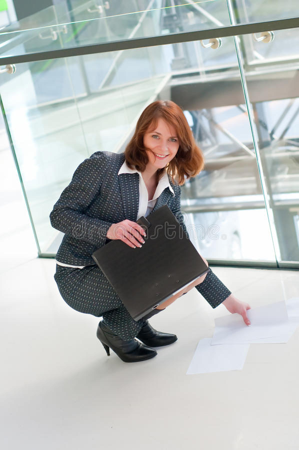 Beautiful business woman. Shot of beautiful business woman in interior royalty free stock photography