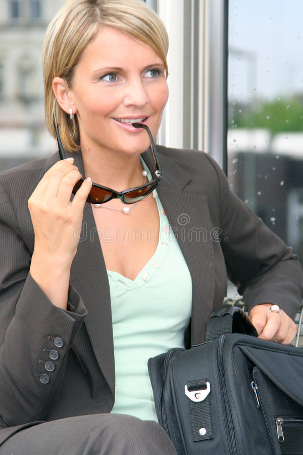 Beautiful business Woman. On Tour royalty free stock image