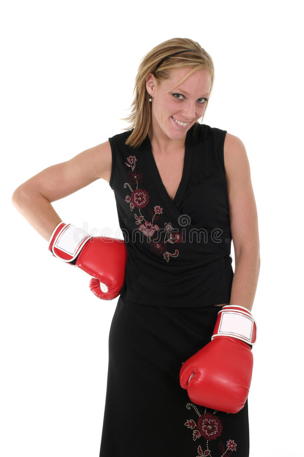 Beautiful Business Woman In Boxing Gloves 10 stock photography