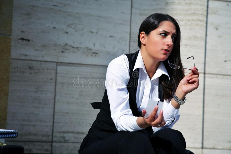Beautiful Business Woman in City Outdoor Concept stock images