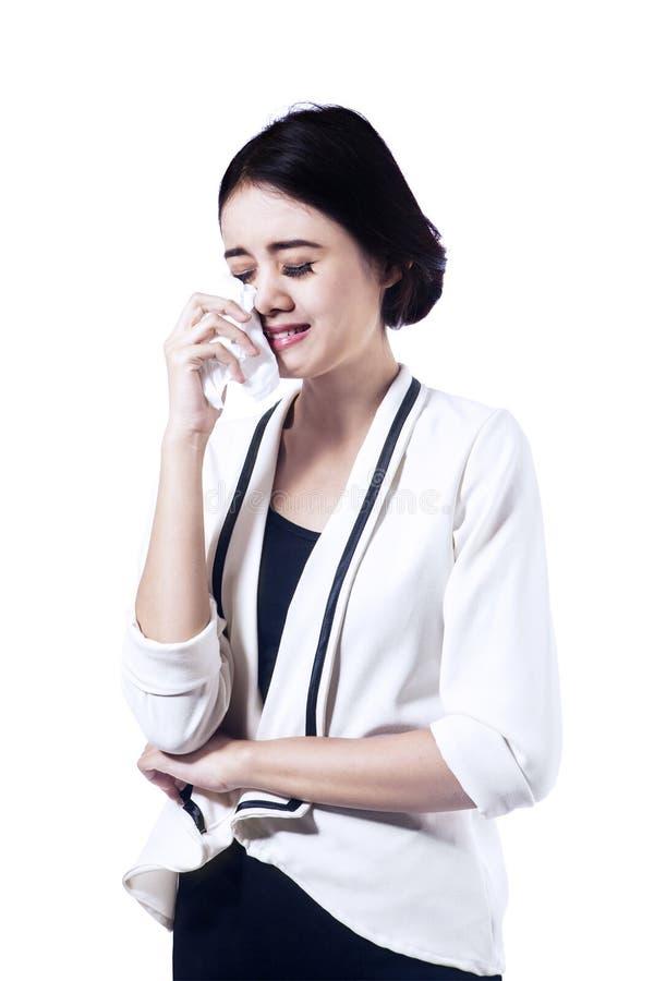 Beautiful business woman crying royalty free stock photos