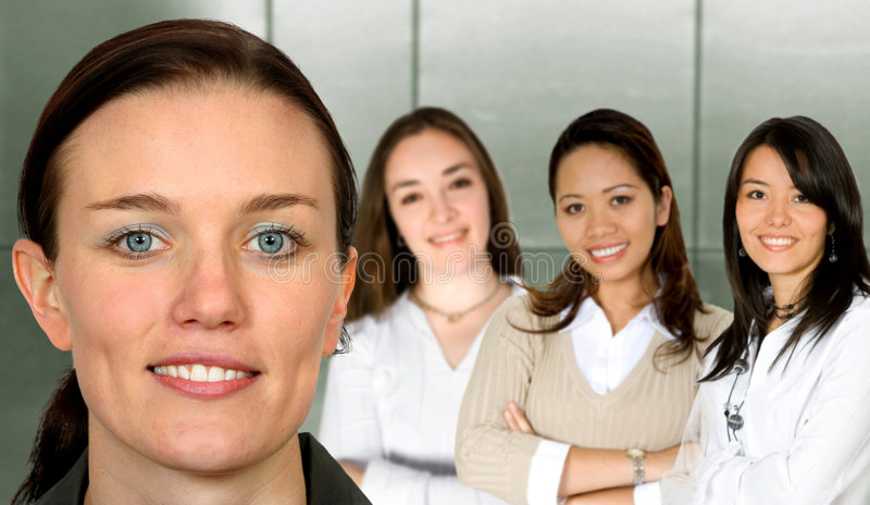 Beautiful business woman and her team