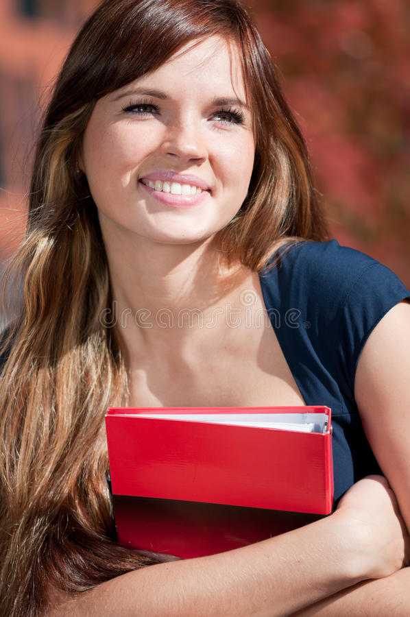 Download Beautiful Business Woman Hoding Diary At Park Stock Photo - Image of reviewing, nature: 16957184