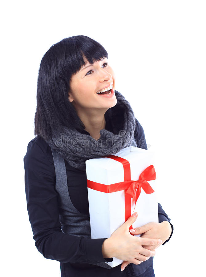 Download Beautiful Business Woman Holding A Gift Stock Photo - Image: 22776638