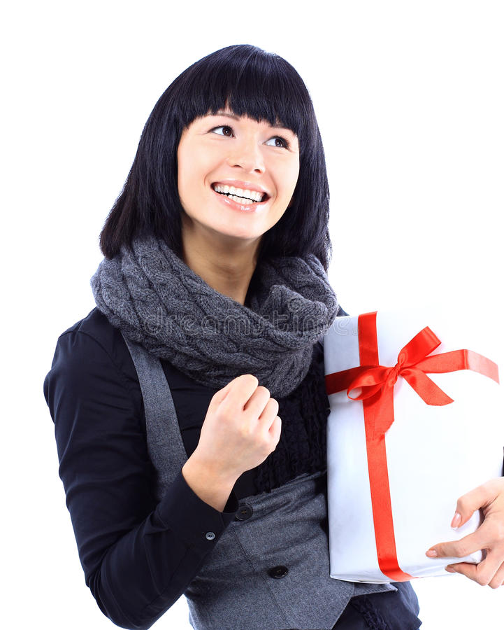 Download Beautiful Business Woman Holding A Gift Stock Photo - Image: 23109704