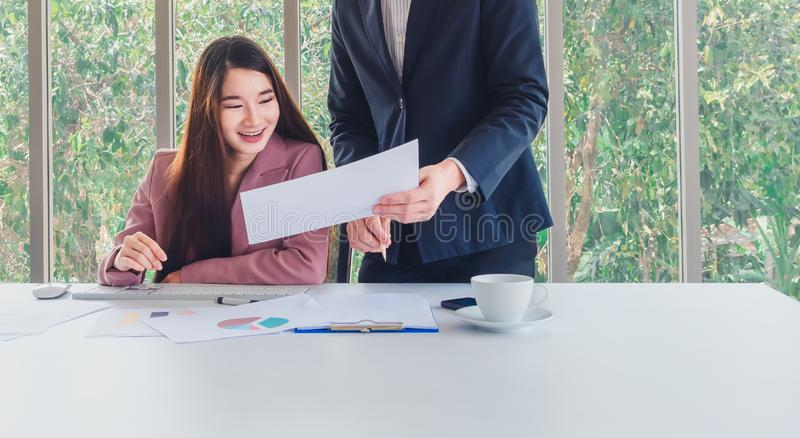 Beautiful business woman receive special offers of interest. Business concept. Beautiful business women receive special offers of interest royalty free stock image