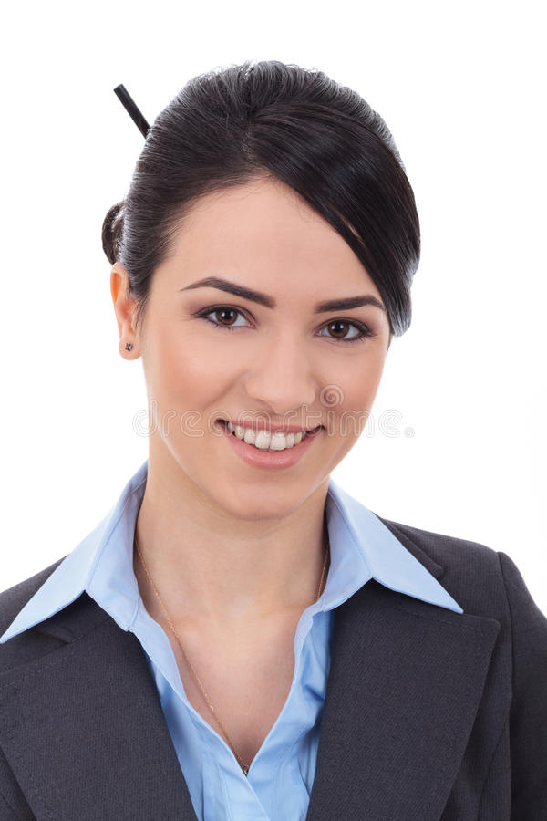 Beautiful business woman's face stock photography