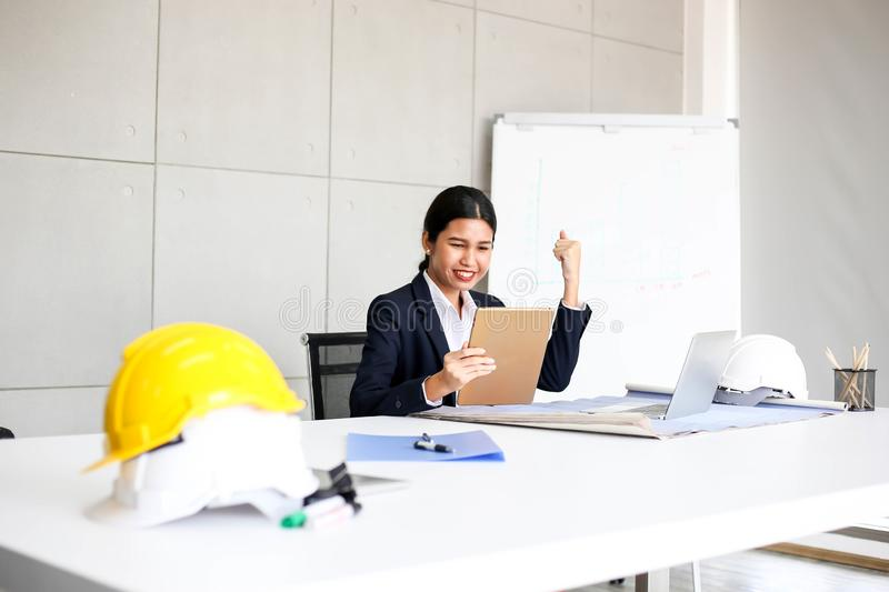 Beautiful Business Woman secretary in office at workplace,Asian Woman Success for Work Confident for Work with Success concept stock photography