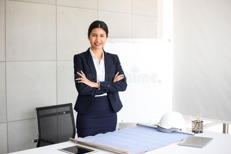 Beautiful Business Woman secretary in office at workplace,Asian Woman Success for Work Confident for Work with Success concept royalty free stock image